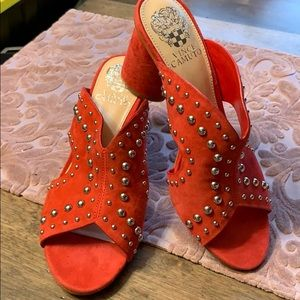 🔥Brand New Vince Camuto Red Suede Silver Stud🔥